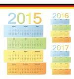 Uppsättningen av tysk 2015, 2016, 2017 färgar vektorkalendrar Royaltyfria Bilder