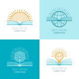 Uppsättningen av utbildningslogoen, symboler, emblem planlägger beståndsdelar Nolla Arkivfoto
