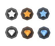 Uppsättningen av utmärkelsesymbolsstjärnor och diamanter försilvrar, platina, guld Arkivfoton