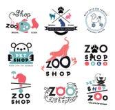 Uppsättningen av zoo som är älsklings- shoppar logo och planlägger beståndsdelar Royaltyfria Bilder