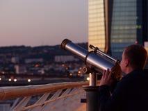Upptäckt av Marseille med ett teleskop Fotografering för Bildbyråer