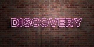 UPPTÄCKT - fluorescerande tecken för neonrör på murverk - främre sikt - 3D framförd fri materielbild för royalty stock illustrationer