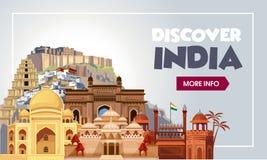 Uppt?ck det Indien loppbanret Tur till det Indien designbegreppet Indien loppillustration Lopppromobaner Vektor Indien royaltyfri illustrationer