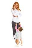 Upptagen affärskvinna med barnet Royaltyfria Foton