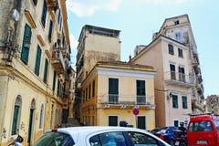 Upptagen gata Grekland Korfu för gammal stad Fotografering för Bildbyråer