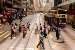 Upptagen gata i Hong Kong, Kina Arkivfoton