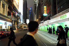Upptagen gata i Hong Kong, Kina Arkivfoto