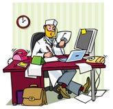 Upptagen högsta doktor i ett kontor stock illustrationer