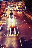 upptagen Hong Kong natttrafik Royaltyfria Bilder