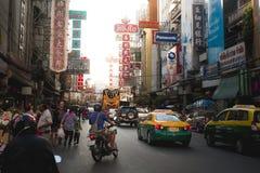 Upptagen Kina stad Bangkok royaltyfria foton