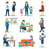Upptagen moder- och gravid kvinnauppsättning stock illustrationer