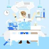 Upptagen och ilsken affärsman som mycket hårt arbetar på skrivbordbegreppet som kastar mycket papper, blå bakgrund för inredesign stock illustrationer