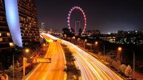 Upptagen ostkustParkexpressway i Singapore Arkivfoto