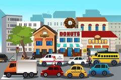 Upptagen stad i morgonen royaltyfri illustrationer