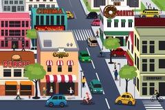 Upptagen stad i morgonen stock illustrationer