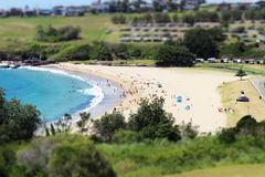 Upptagen strand på en sommardag Arkivfoton