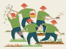 Upptagen trädgårdsmästareillustration Royaltyfri Foto