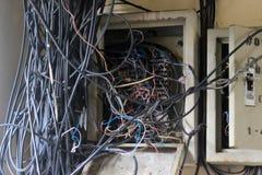 Upptagen tråd i byggnaden Arkivbild