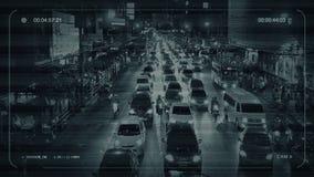 Upptagen väg för CCTV till och med stad stock video