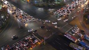 Upptagen vägföreningspunkt i Seoul, Sydkorea arkivfilmer