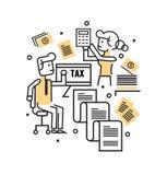 Upptaget affärsfolk med skattdokument stock illustrationer