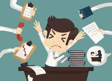 Upptaget affärsmanarbete som är hårt och stock illustrationer
