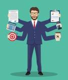 Upptaget affärsmantecken Multitaskinghårt arbete vektor illustrationer