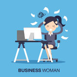 Upptaget av tidaffärskvinna stock illustrationer