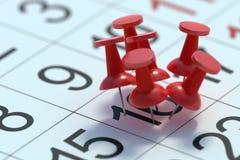 Upptaget dagbegrepp Många häftstift klämde fast till en dag i kalender framförd illustration 3d royaltyfri illustrationer