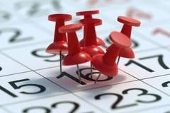 Upptaget dagbegrepp Många häftstift klämde fast till en dag i kalender framförd illustration 3d vektor illustrationer