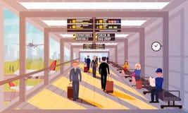 Upptaget folk i plan illustration för flygplatslobby stock illustrationer
