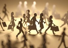 Upptaget folk som shoppar konturer Royaltyfri Fotografi