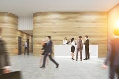 Upptaget kontor med träväggar stock illustrationer