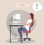Upptaget kvinnaarbete som tänker om datorproblem vektor illustrationer