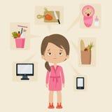 Upptaget kvinnabegrepp vektor illustrationer