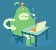 Upptaget päron på datoren och telefonen stock illustrationer