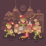 Upptaget Santa Claus kontor Älvaarbetare som bär gåvor stock illustrationer