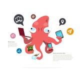 Upptaget tioarmad bläckfisktecken Grungebakgrund för dina publikationer social nätverkssymbol - royaltyfri illustrationer