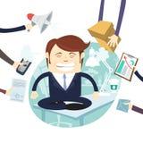 Upptaget trött ilsket affärsmanMultitasking At Desk i regeringsställning arbete stock illustrationer
