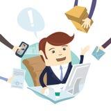 Upptaget trött ilsket affärsmanMultitasking At Desk i regeringsställning arbete royaltyfri illustrationer