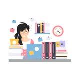 Upptaget ungt affärskvinnateckensammanträde på datorskrivbordet med bärbara datorn, funktionsdugligt ögonblick av vektorn för kon stock illustrationer