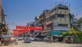 Upptagna gator i Udon Thani arkivfoto