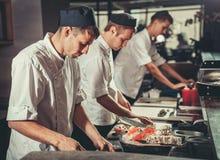 Upptagna kockar på arbete i restaurangköket arkivbild