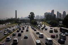 Upptagna vägar, Sao Paulo arkivfoton