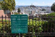 Upptill av Lombardgatan - se över San Francisco arkivfoton