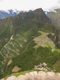 Upptill - en sikt av Machu Picchu från det Wayna Picchu berget Arkivbilder