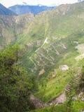 Upptill - en sikt av Machu Picchu från det Wayna Picchu berget Royaltyfri Fotografi