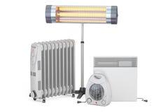 Uppvärmningapparater För fan, olja-fylld och infraröd värmeapparat för konvektion, Arkivbild