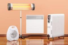 Uppvärmningapparater För fan, olja-fylld och infraröd värmeapparat för konvektion, Royaltyfri Foto