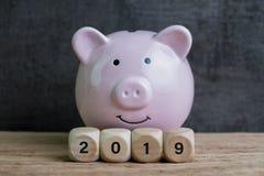Uppvaktar det finansiella målet för år 2019, den lyckliga le rosa spargrisen med royaltyfria foton